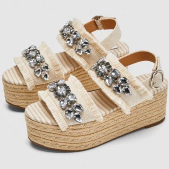 Zara Embellished Wedge Sandals